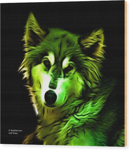 Wolf - Green Wood Print