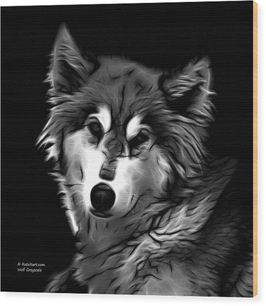 Wolf - Greyscale Wood Print