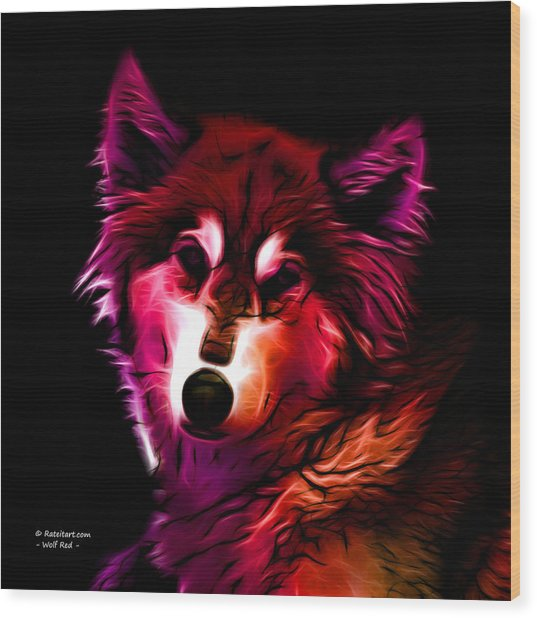 Wolf - Red Wood Print