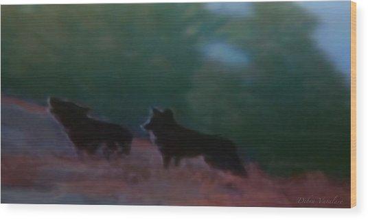 Wolves Passage Wood Print by Debra     Vatalaro