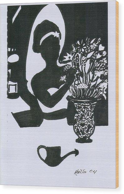 Woman Arranging Flowers 1 Wood Print by Rhetta Hughes