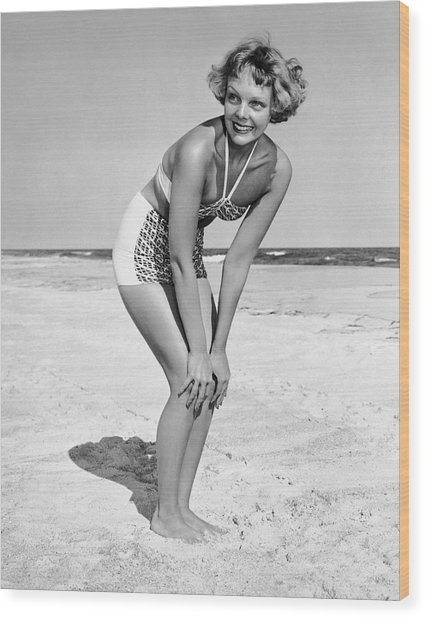 Woman At Beach Posing Wood Print by George Marks