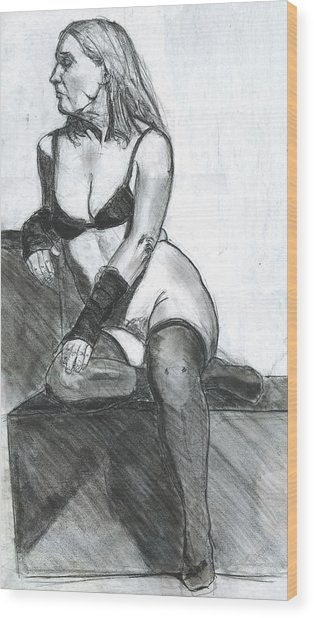 Woman Wood Print by Eric Atkisson
