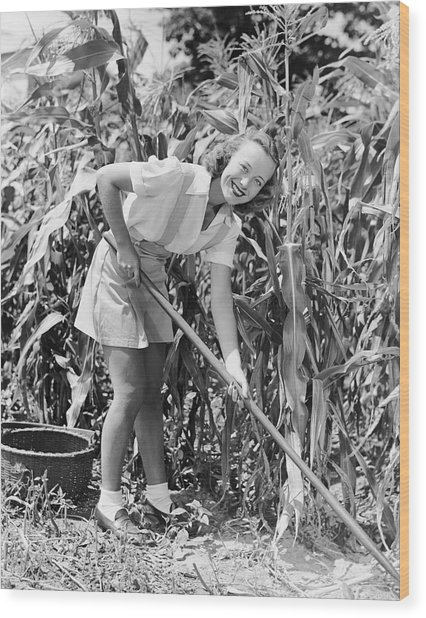Woman Hoeing In Field Of Corn Wood Print by George Marks