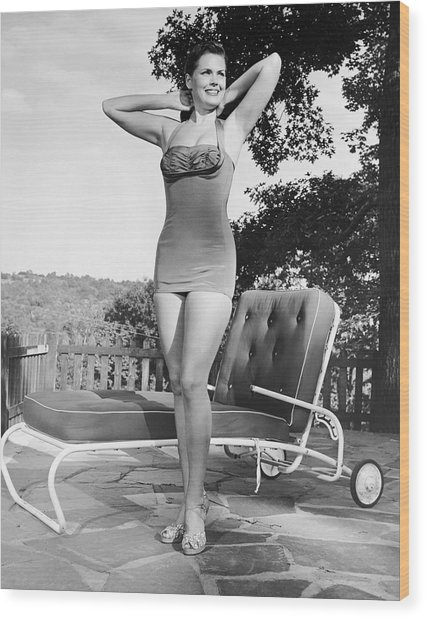 Woman In Bathing Suit Outdoors Wood Print by George Marks