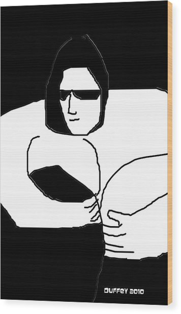 Woman In Black Sheets In Shades Wood Print
