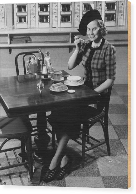 Woman In Fancy Hat Eating Breakfast In Bar, (b&w), Portrait Wood Print by George Marks