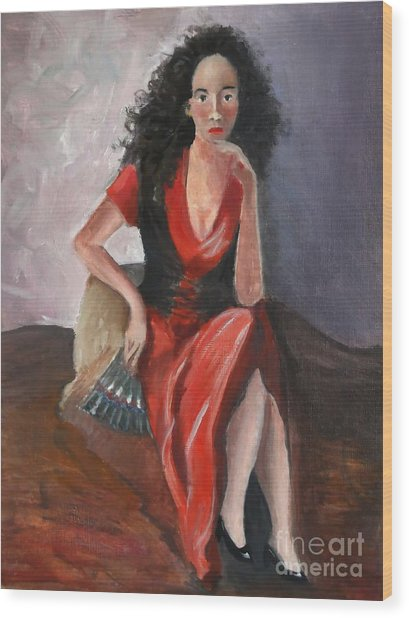 Woman In Red - Inspired By Pino Wood Print by Kostas Koutsoukanidis