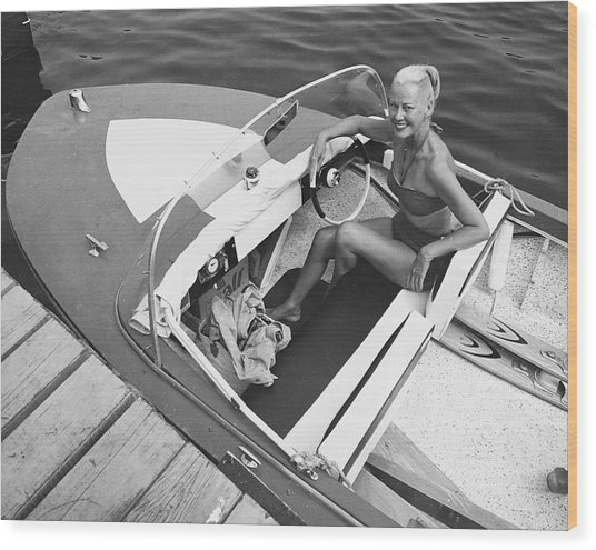 Woman In Speed Boat Wood Print by George Marks