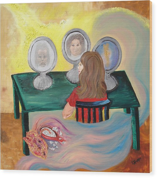 Woman In The Mirror Wood Print by Lisa Kramer