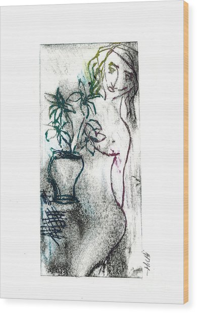 Woman In Waiting Wood Print by Lillian Michi Adams