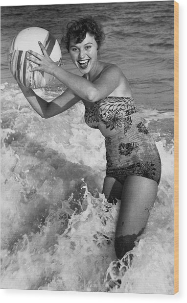 Woman In Water W/beachball Wood Print by George Marks