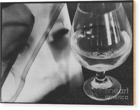 Woman Looking Through Glass Version 1 Wood Print