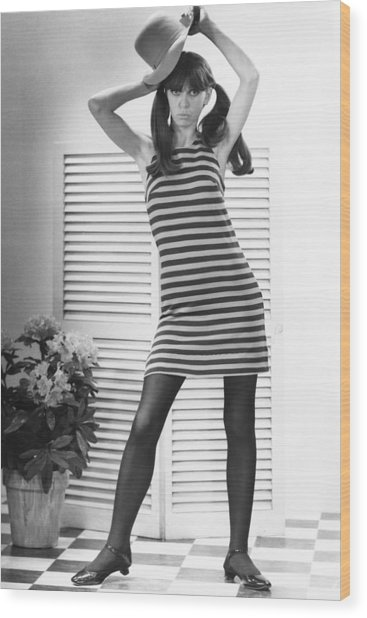Woman Modeling Fashion Wood Print by George Marks