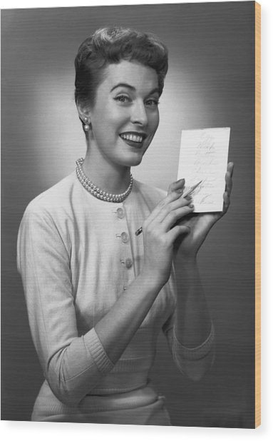 Woman Note Pad Posing In Studio, (b&w), Portrait Wood Print by George Marks