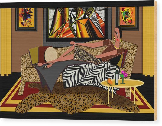 Woman On A Chaise Lounge Wood Print