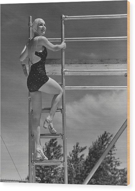 Woman On Diving Board Wood Print by George Marks