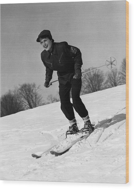 Woman On Ski Slopes Wood Print by George Marks