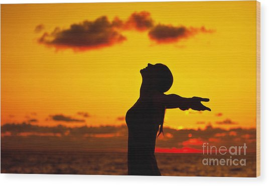 Woman Silhouette Over Sunset Wood Print by Anna Om