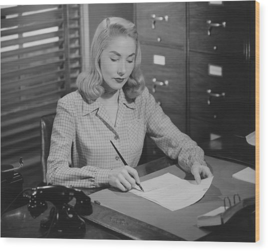 Woman Sitting At Desk, Writing Letter, (b&w) Wood Print by George Marks