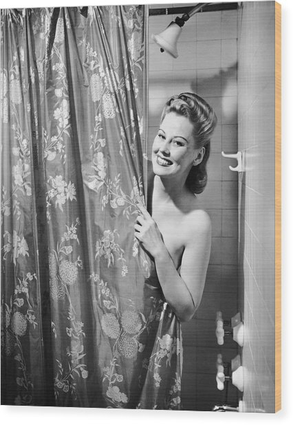 Woman Taking Shower Wood Print by George Marks