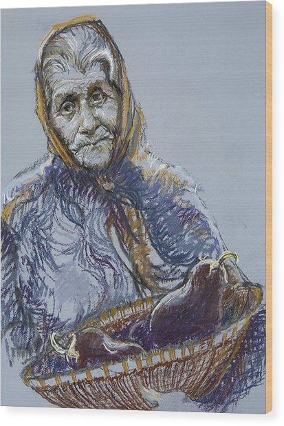 Woman With A Basket Of Eggplant Wood Print