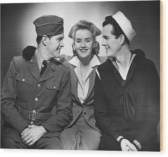 Woman W/two Military Men Wood Print by George Marks