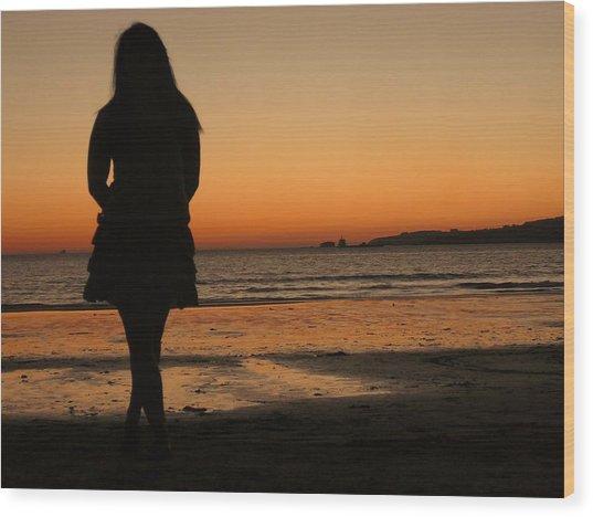 Woman's Shade In The Beach Wood Print by Jenny Senra Pampin