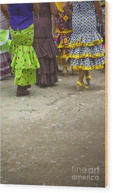 Women And Flamenco Dresses Wood Print by Perry Van Munster