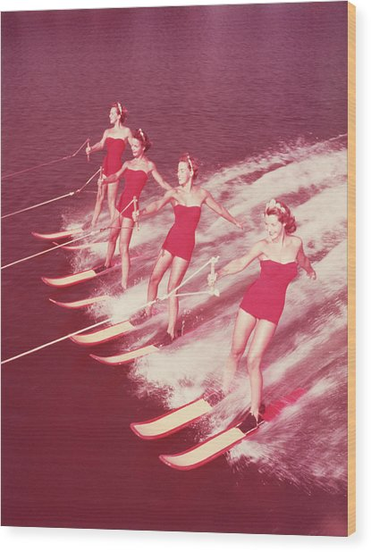Women Water Skiing Parallel, 1950s Wood Print by Archive Holdings Inc.