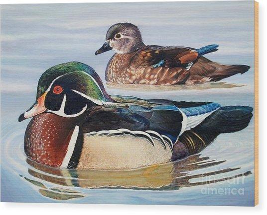Wood Ducks Wood Print by Don Evans