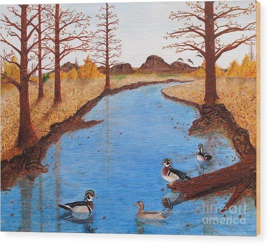 Wood Ducks On Jacobs' Creek Wood Print