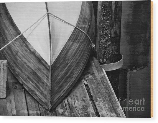 Wooden Boat On The Dock Wood Print by Wilma  Birdwell
