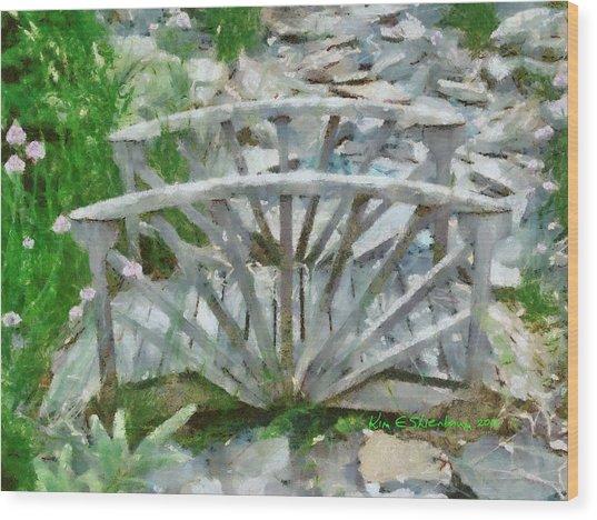 Wooden Bridge On Stone Creek Wood Print by Kim Ezra Shienbaum