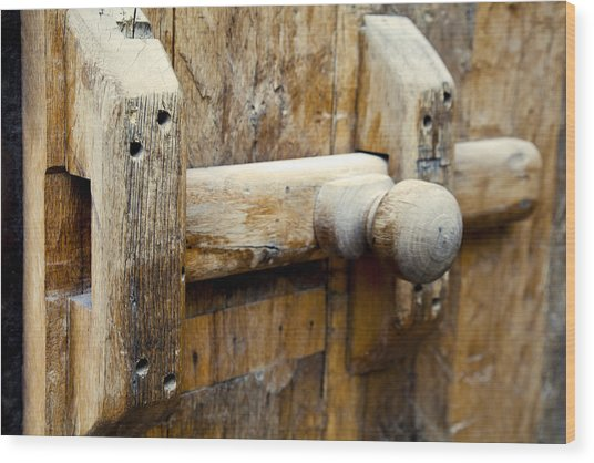 Wooden Door Bolt Detail Wood Print by Kantilal Patel