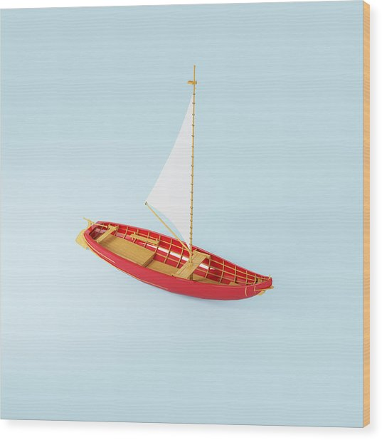 Wooden Toy Sailing Boat Wood Print by Jon Boyes