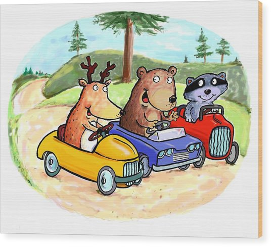 Woodland Traffic Jam Wood Print by Scott Nelson