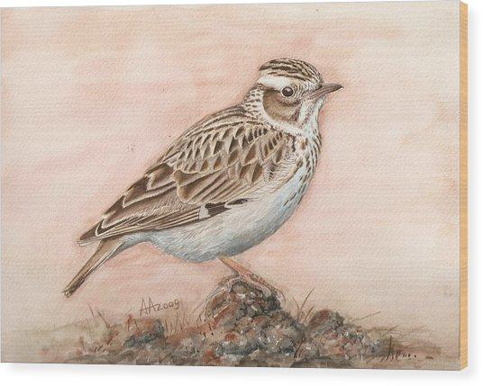Woodlark In The Day-break Wood Print by Deak Attila