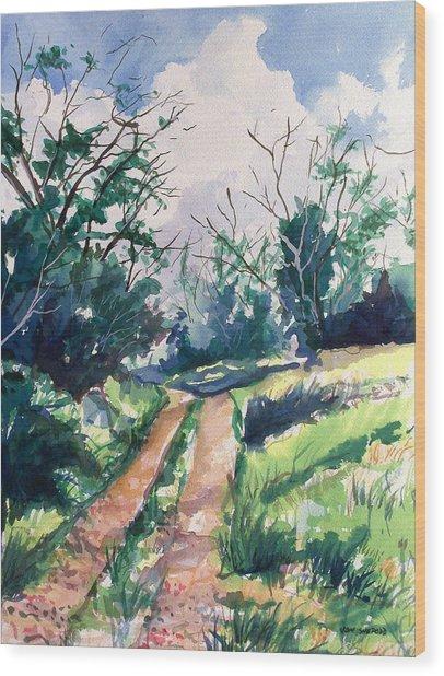 Woodsy Trail Wood Print by Jon Shepodd
