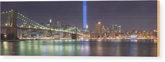 World Trade Center Tribute Lights Wood Print