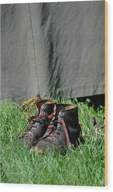 Worn Boots Wood Print by Rachel Rodgers