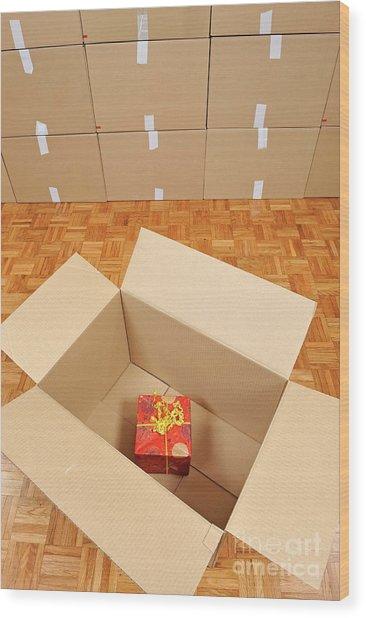 Wrapped Gift Box Inside Cardboard Box Wood Print by Sami Sarkis