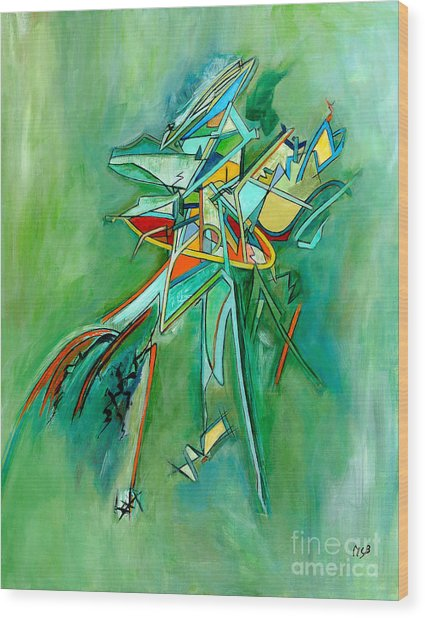 Contemporary Green Colorful Plane Abstract Composition Wood Print by Marie Christine Belkadi