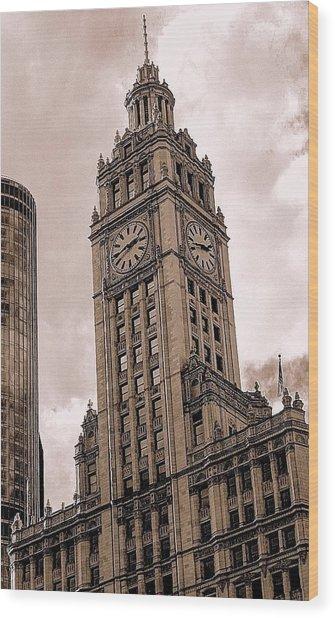 Wrigley Clock Tower Wood Print