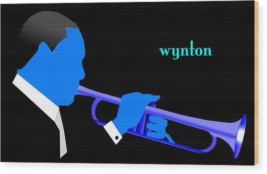 Wynton Marsalis Blue Wood Print by Victor Bailey