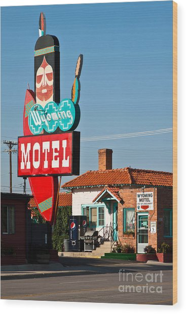 Wyoming Motel Wood Print