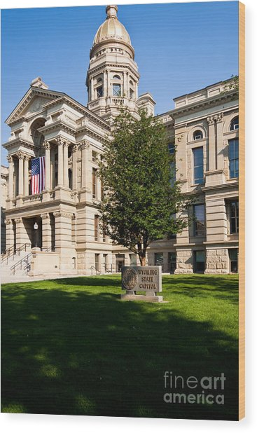 Wyoming State Capital Wood Print