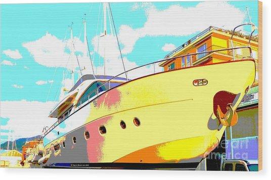 Yacht Dry Docking Wood Print