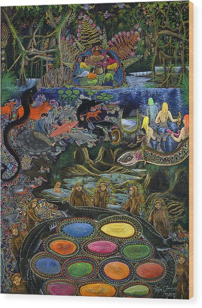 Wood Print featuring the painting Yacuruna Huasi by Pablo Amaringo
