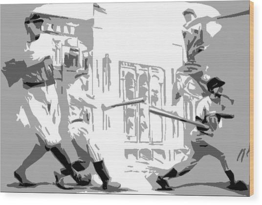 Yankee Greats Poster Wood Print by Adam Barone